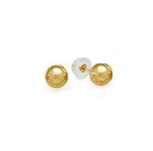 14K Real Yellow Gold Shiny Ball Earrings 4mm Safety Silicone Bubble Back