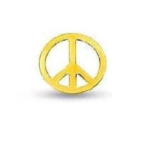 14K Real Yellow Gold SINGLE Peace Sign  Post Stud Earring