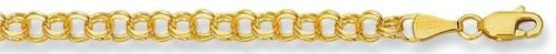 14k Solid Real Yellow Gold Link Charm Bracelet 7""