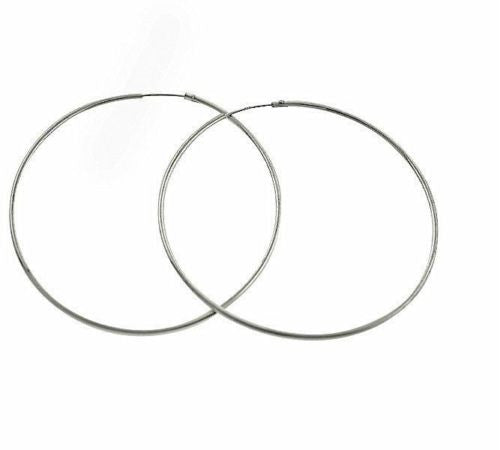 .925 Sterling Silver Hoops Endless Large Jumbo Hoop Hoops Earrings 1.25x60mm