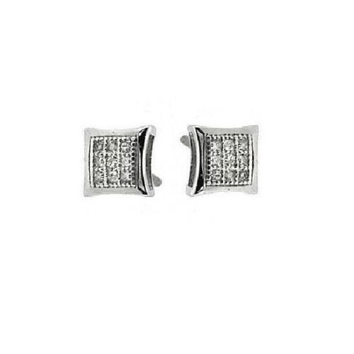 Sterling Silver Diamond Kite Stud Diamond Earrings 0.05ct New