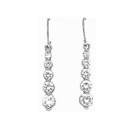 14K Real White Gold Round Journey Drop Earrings CZ New