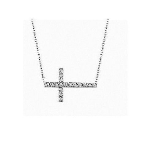 "14K White Gold Diamond Sideways Cross Necklace Adjustable Chain 18"" 0.19ct"