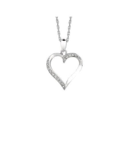 .925 Sterling Silver Diamond Open Heart Necklace Pendant 0.05ct 18""