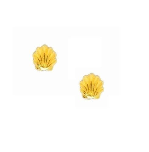 14k Real Gold Sea Shell Stud Post Baby Earrings seashore New