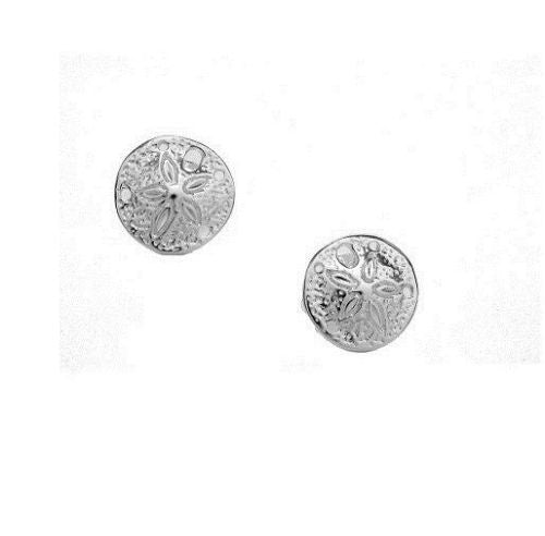 .925 Sterling Silver Sand Dollar Post Stud Earrings Small 9mm