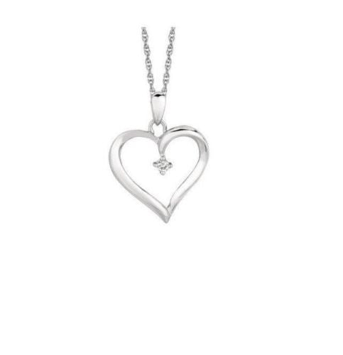 .925 Sterling Silver Diamond Open Heart Necklace Pendant 0.04ct 18""