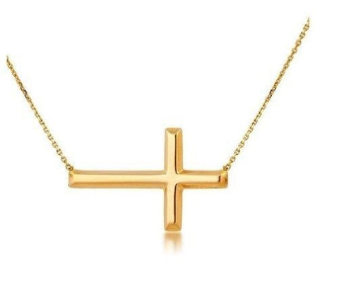 14K Yellow Gold Sideways Cross Bracelet Adjustable Chain 7-7.5""