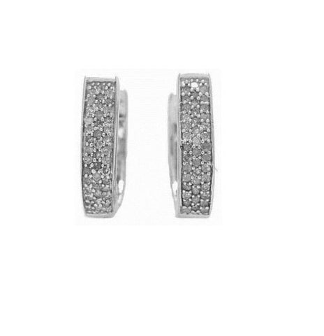 .925 Sterling Silver Diamond Oval Huggie Huggy Hoops Hoop Earrings 0.25ct
