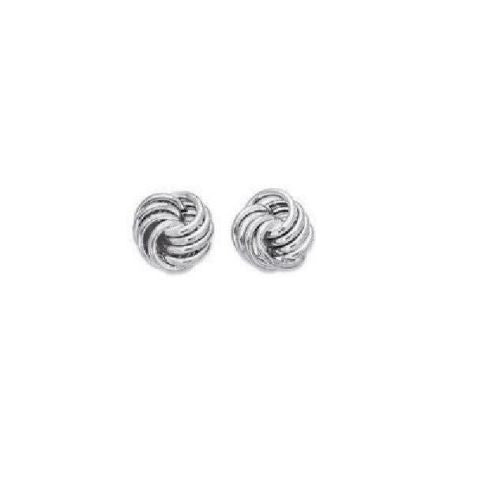 14k Solid Gold White Love Knot Earrings loveknot 10mm