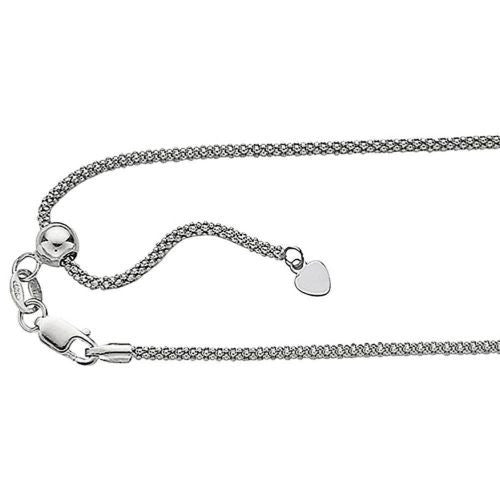 ".925 Sterling Silver Popcorn Link Chain Adjustable 0.8mm 16""-22"""