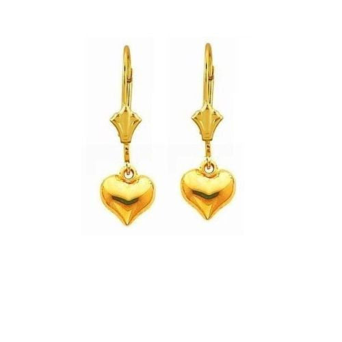 10K Real Yellow Gold Puffed Heart Lever Back Earrings