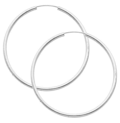 .925 Sterling Silver Hoops Endless Large Jumbo Hoop Hoops Earrings 2x50mm