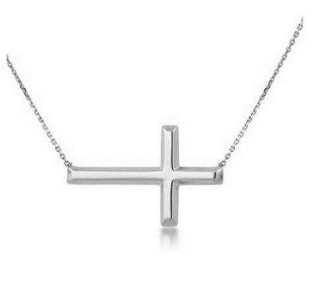14K White Gold Sideways Cross Bracelet Adjustable Chain 7-7.5""