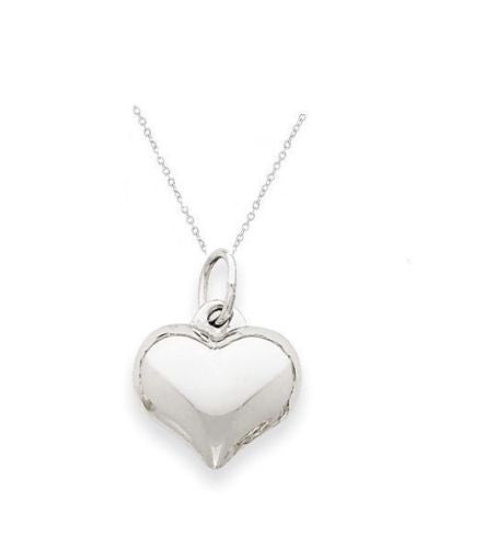 .925 Sterling Silver Puffed Heart Love Charm Pendant Necklace 18""