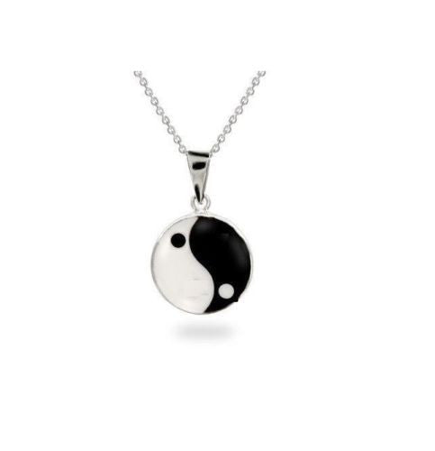 .925 Sterling Silver Yin and Yang Black White Enamel Charm Pendant Necklace 18""