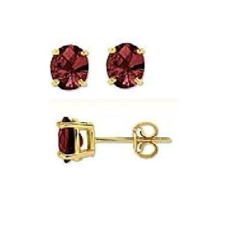 14k Solid Gold Genuine Garnet Birthstone Earrings stud