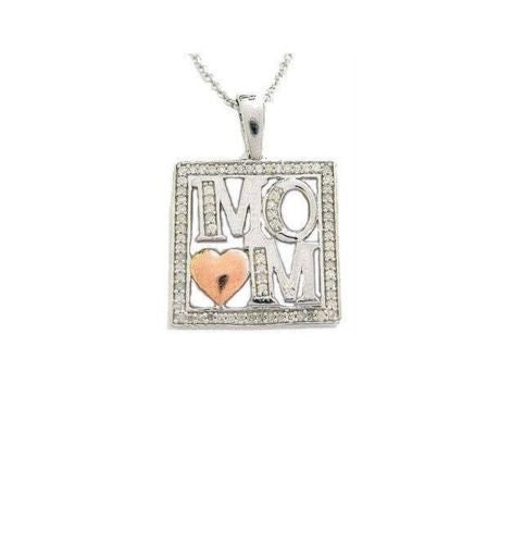 .925 Sterling Silver Diamond Mom Heart Necklace Pendant 0.25ct New