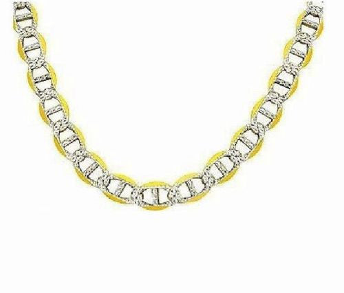 ".925 Sterling Silver Gold Overlay Mariner Pave Chain Necklace 24""  5mm"