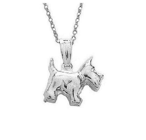 .925 Sterling Silver Dog Pendant Charm Necklace 18""