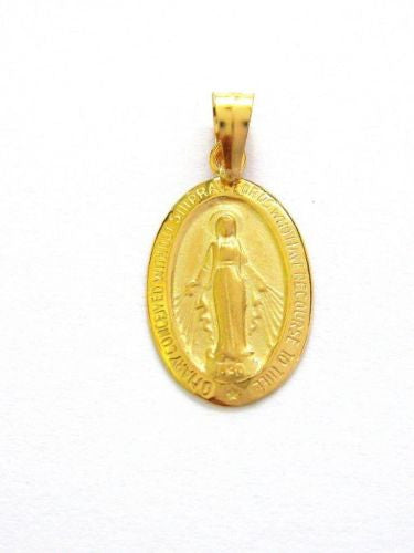 14K Real Yellow Gold Oval Medal Virgin Mary Miraculous Charm 1.7 Grams