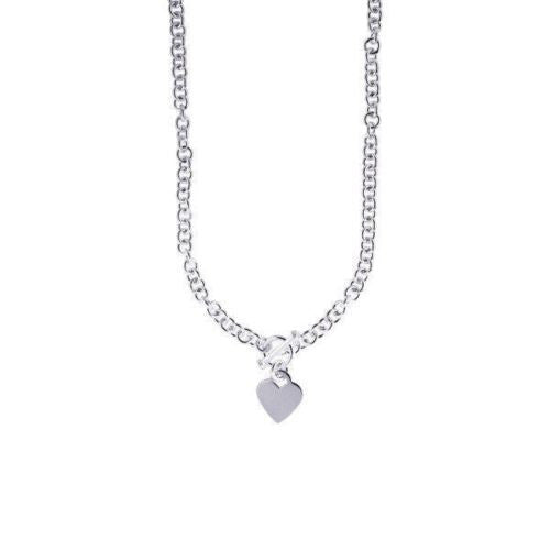 "Sterling Silver Charm Necklace Heart Charm 16"" !"