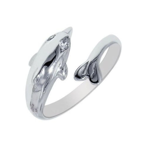 10k Solid White Gold Dolphin Body Art CZ Adjustable Ring or Toe Ring