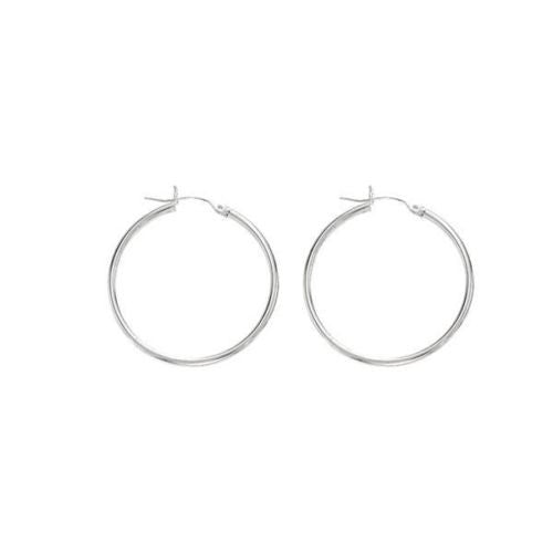14K Real White Gold Tubular Hoops Earrings 25x1.5mm Hoop