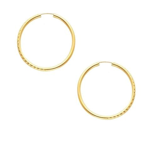 14K Yellow Gold 1.5x30mm Diamond Cut Endless Hoops Earrings
