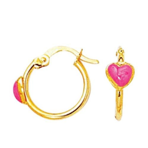 14k Solid Gold Baby Heart Children Hoop Hoops Earrings