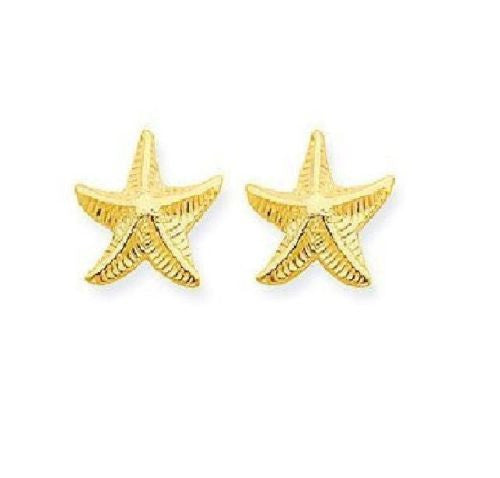 14K Real Yellow Gold Star Fish Post Stud Earrings