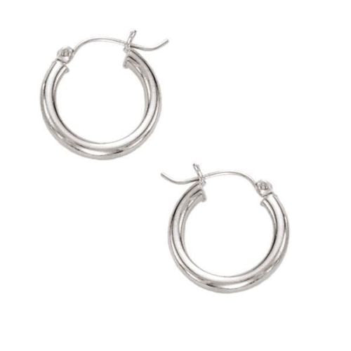 14K Real White Gold Hoops Hoop Earrings Tubular 15mm