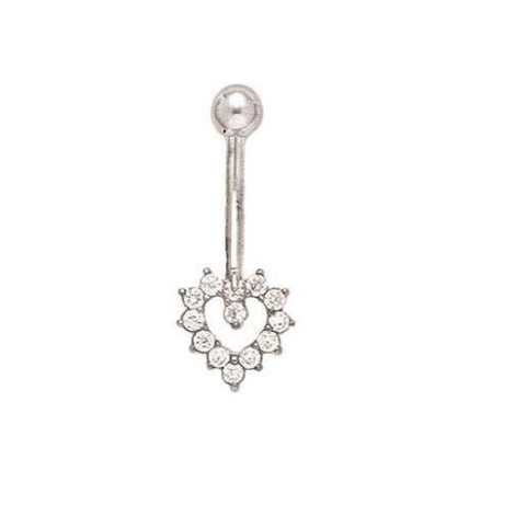 14k Real White Gold Heart CZ Belly Button Navel Ring