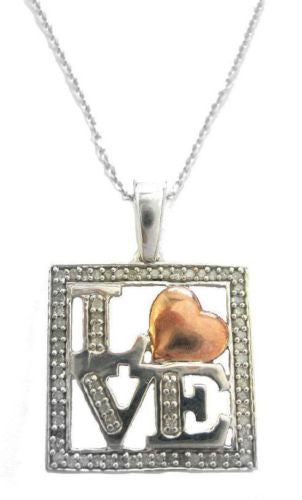.925 Sterling Silver Love Heart Diamond 0.25ct Necklace 18""