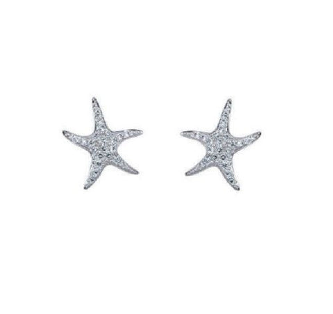 .925 Sterling Silver Starfish CZ Stud Earrings 14mm