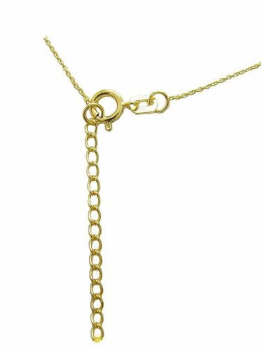 "14K Solid Yellow Gold Curb Chain Baby Childrens Necklace Adjustable 13""-15"""