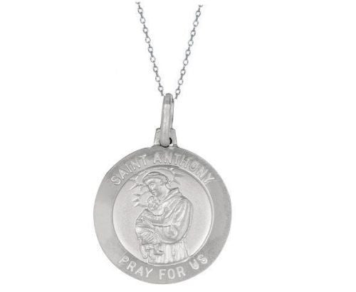 .925 Sterling Silver Saint St Anthony Medal Charm Pendant Necklace 18mm