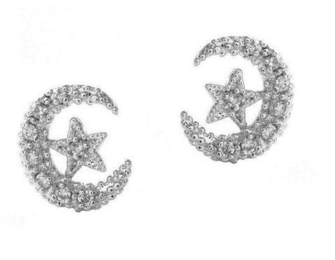 .925 Sterling Silver Moon And Star Best Friends CZ Stud Earrings