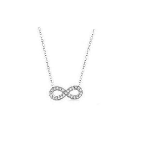 "Sterling Silver Infinity Adjustable Pendant Charm Necklace 18"" CZ"