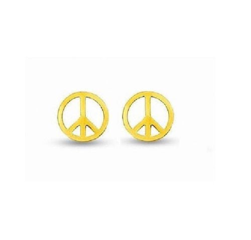 14K Real Yellow Gold Peace Sign Post Stud Earrings
