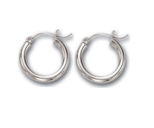 14K Real White Gold Hoops Hoop Earrings Tubular 15x3mm