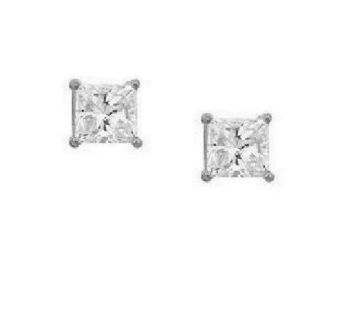 14K White Gold 6mm Princess-cut CZ Stud Earrings 2ct