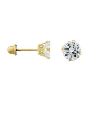 14K Solid Yellow Gold 5mm CZ Stud Earrings 1 CT