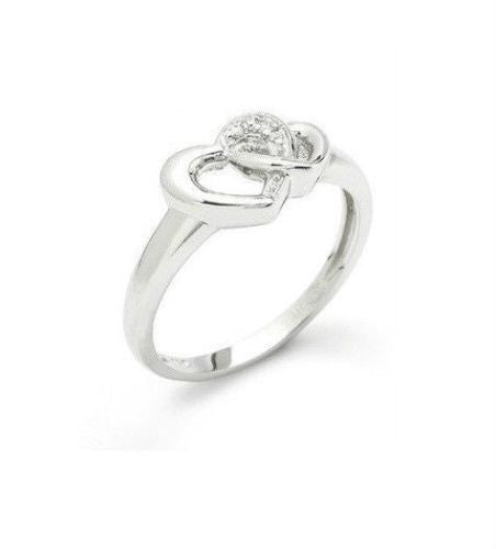 .925 Sterling Silver Double Heart Love CZ Ring