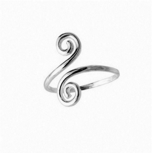 14k Solid White Gold Swirl Body Art Adjustable Ring or Toe Ring
