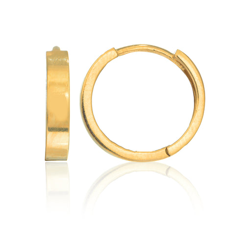 14K Real Yellow Gold Round Huggy Huggies Hoops Hoop Earrings 14mm