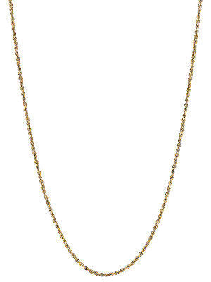 "14K Solid Gold Rope Chain Dia Cut Necklace 1.25mm 16"",18"", 20"", 22"", 24"""