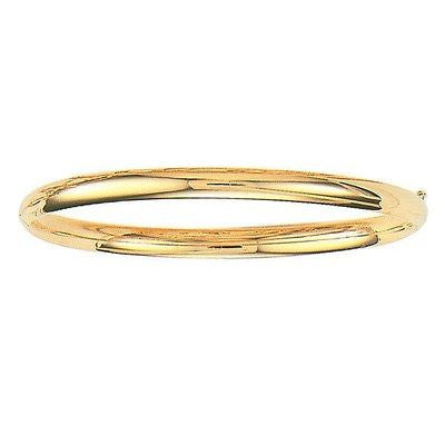 10K Solid Yellow Gold Shiny Bangle Bracelet 7""