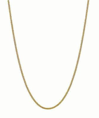 10K Solid Yellow Gold Gourmette Curb Link Chain Necklace 16 18  20 24 inch 1mm