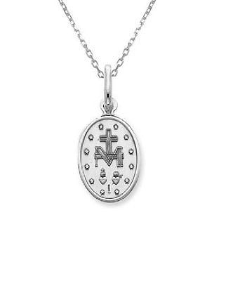 .925 Sterling Silver Miraculous Medal Oval Virgin Mary Charm Necklace 18""
